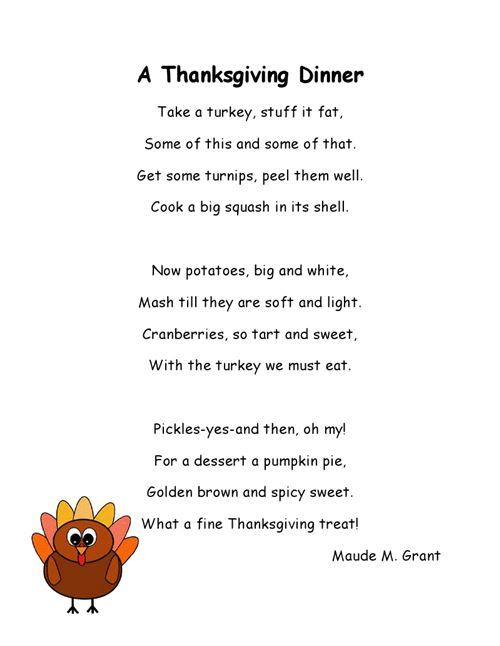 Best Thanksgiving Poems For Kids About Turkeys