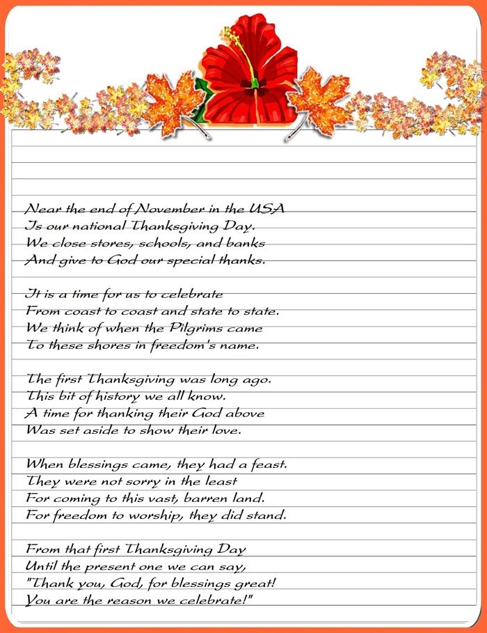 Famous Christian Thanksgiving Poems For Children