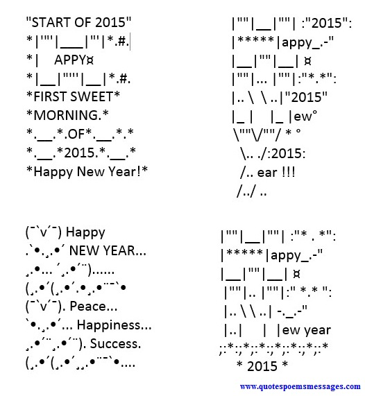Beautiful Happy New Year Text Art Messages
