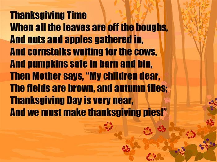 Best Short Happy Thanksgiving Day Poems For Family