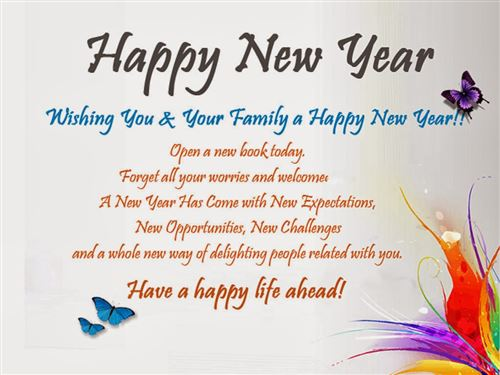 Free Happy New Year And Best Wishes For Family