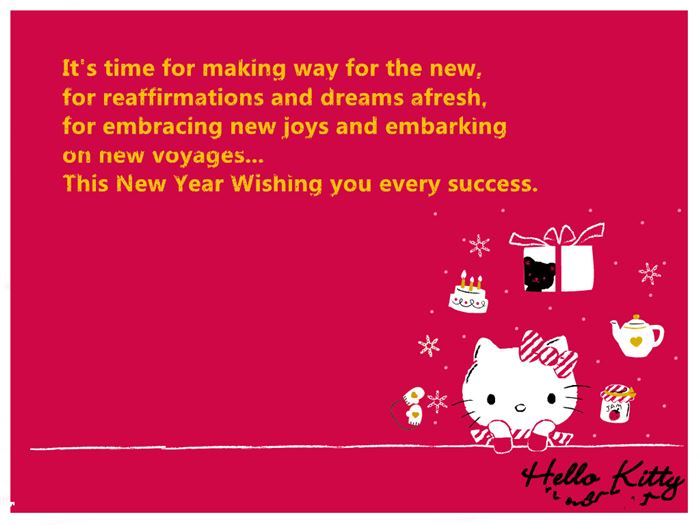 Free Beautiful Happy New Year Hello Kitty Messages