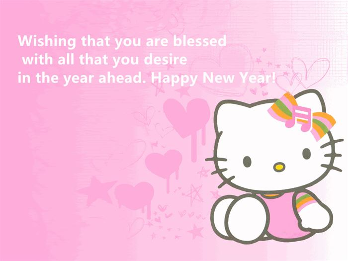 Cute Happy New Year Hello Kitty Messages