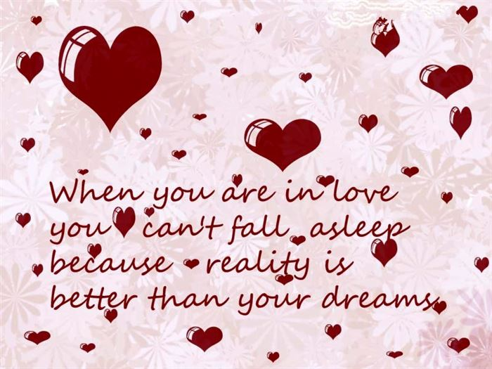 When You Are In Love You Can   t Fall Asleep Because Reality Is Better    Cute Valentines Day Quotes For Friends