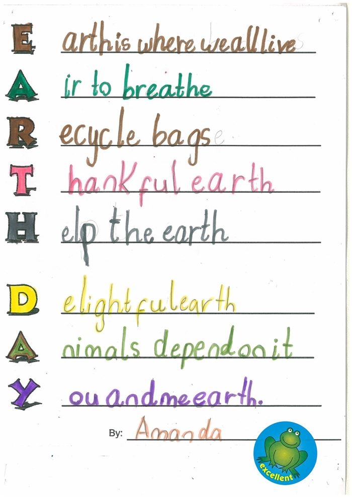 Free Happy Earth Day Acrostic Poem Examples