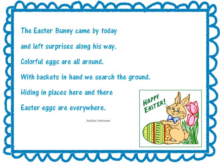 Short Christian Easter Poems For Toddlers
