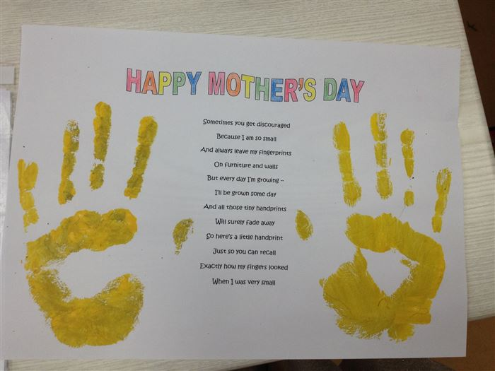Unique Handprint Happy Mother's Day Poems For Children