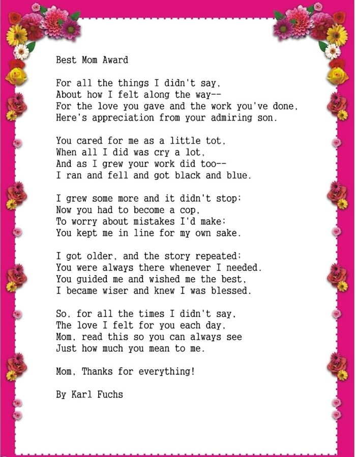 Meaning Short Happy Mothers Day Poems From Son