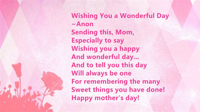 Free Short Happy Mother's Day Poems From Son In Law