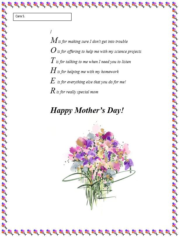 Meaningful Happy Mother's Day Poems For Kids First Grade