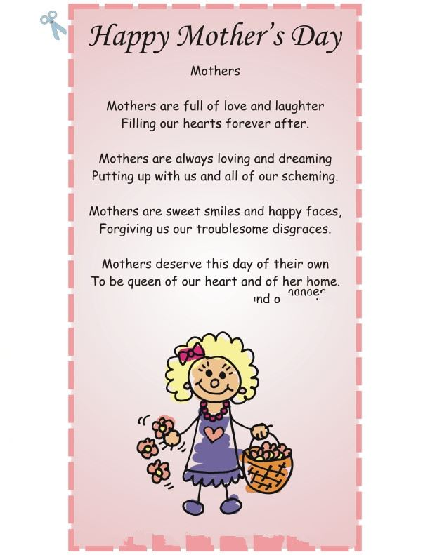 Best Short Happy Mother's Day Poems For Preschoolers