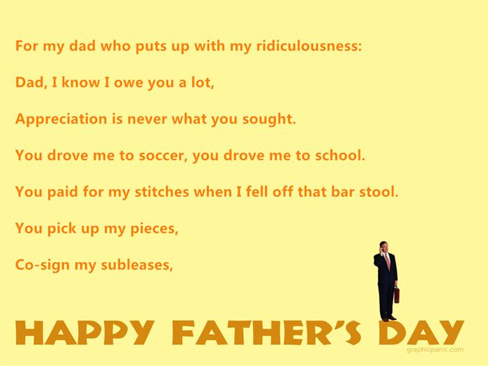 Free Funny Happy Father's Day Poems From Daughter