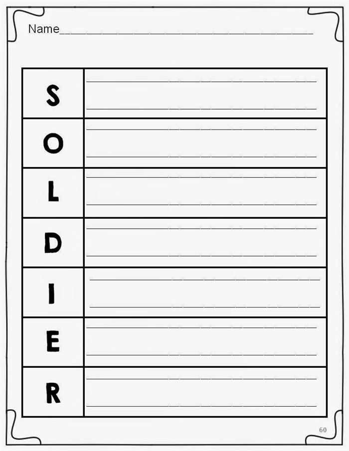 Beautiful Memorial Day Acrostic Poem Worksheets