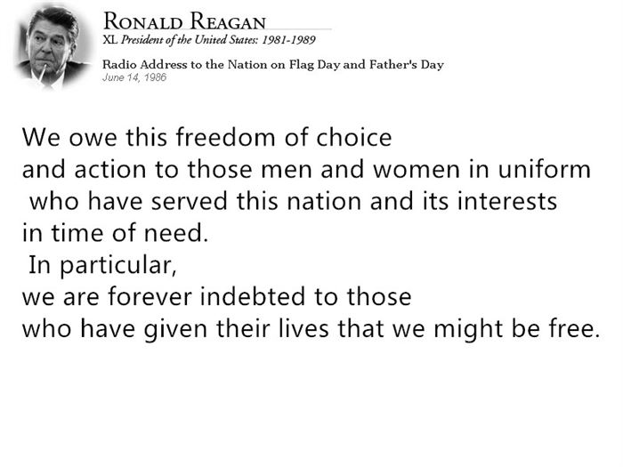 Meaningful President Ronald Reagan Memorial Day Quotes