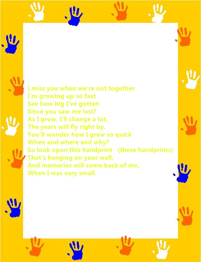 Free Happy Father's Day Poems From Baby Handprints