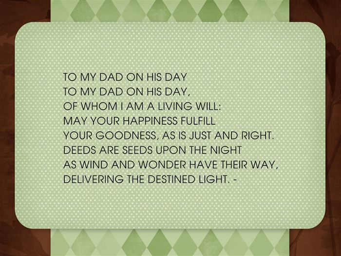 Short Happy Father's Day Poems From Son