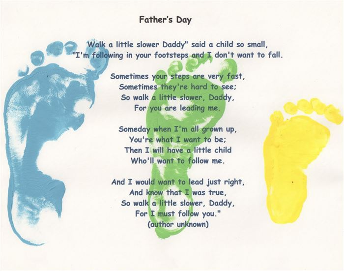 Meaningful Happy Father's Day Poems For Preschool Footprints