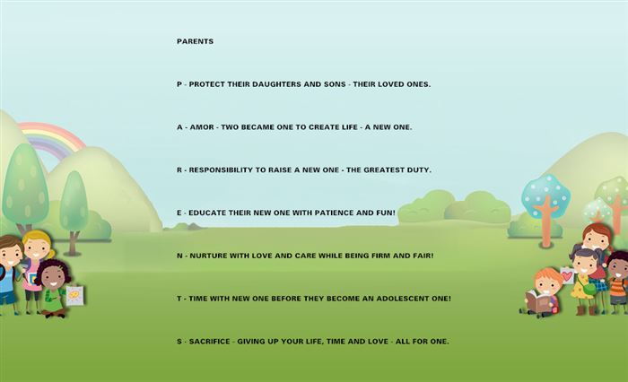 Beautiful Happy Parents Day Acrostic Poems Template