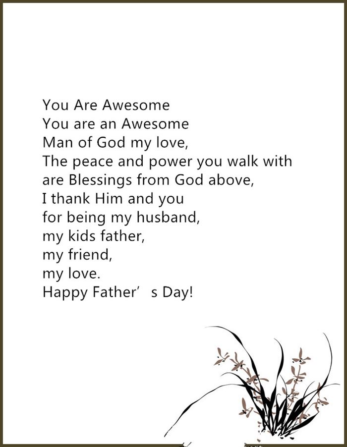 Best Christian Happy Father's Day Poems For Husbands
