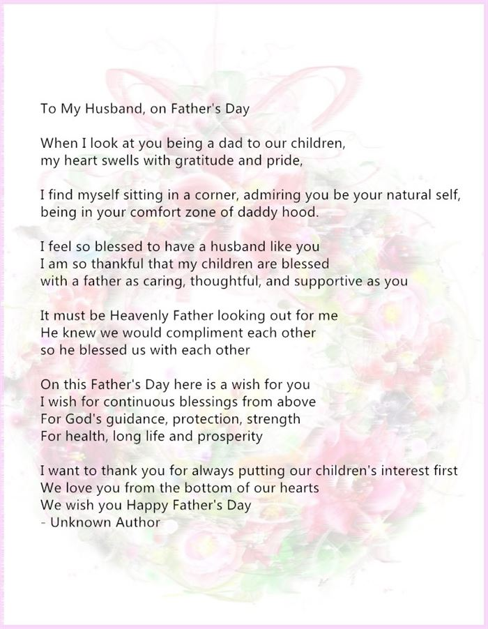 Free Inspirational Happy Father's Day Poems From Wife