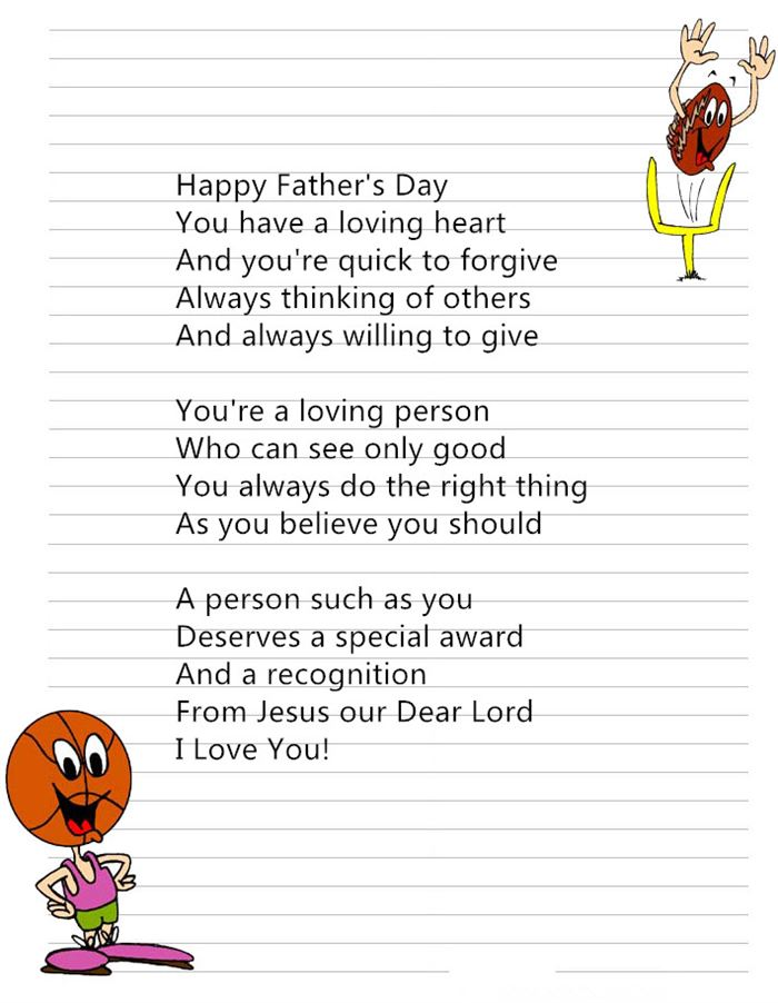 Short Free Christian Happy Father's Day Poems From Preschoolers