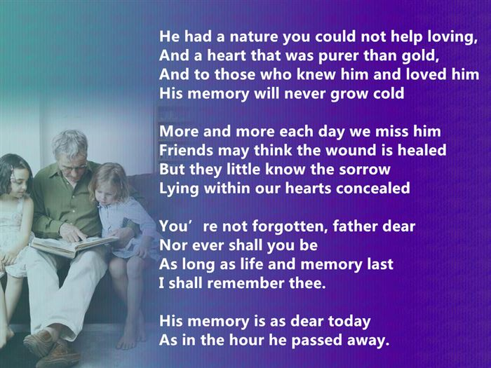 Short Meaningful Happy Father's Day Poems For Deceased Dads