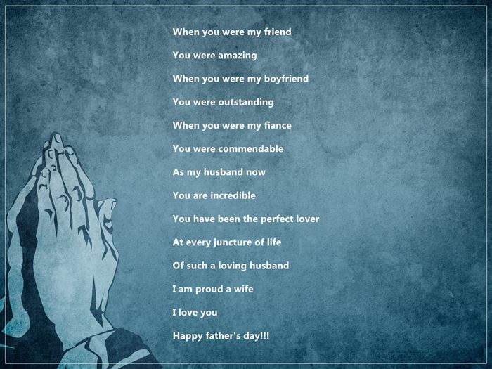 Top Short Happy Fathers Day Poems From Wife To Husbands