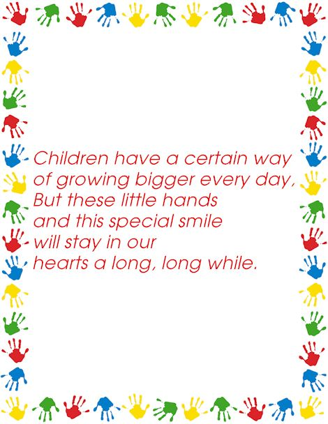 Free Short Grandparents Day Poems About Handprints