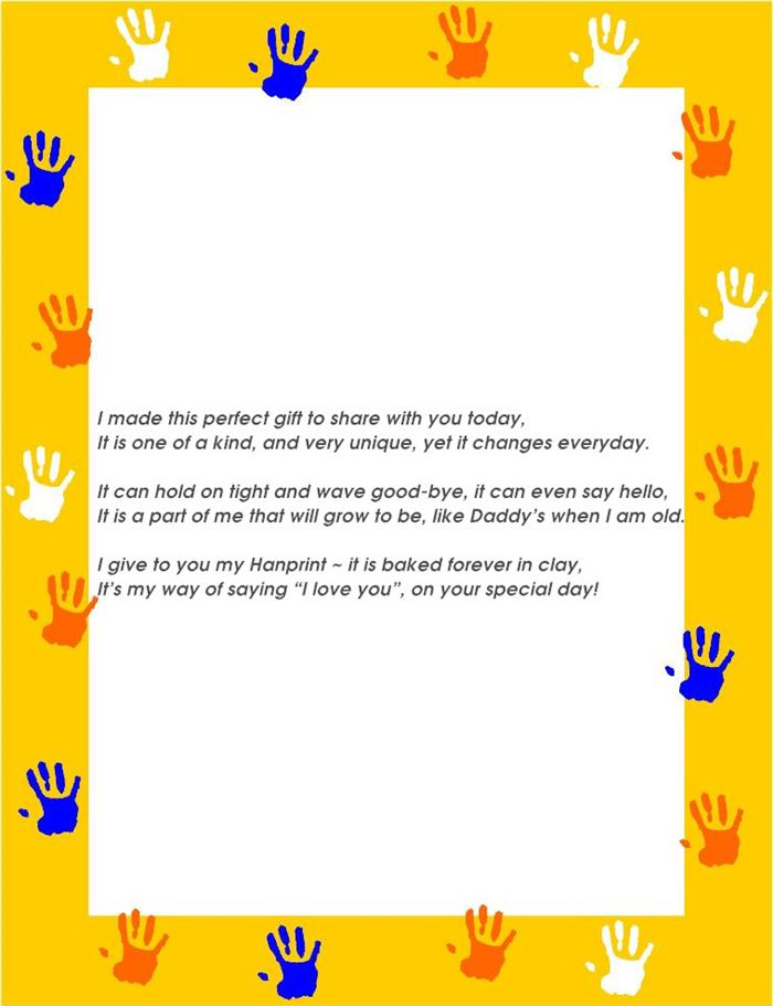 Short Meaningful Grandparents Day Poems About Handprints
