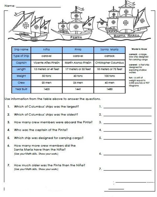 Easy Columbus Day History Worksheets
