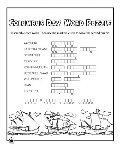 Free Columbus Day History Worksheets