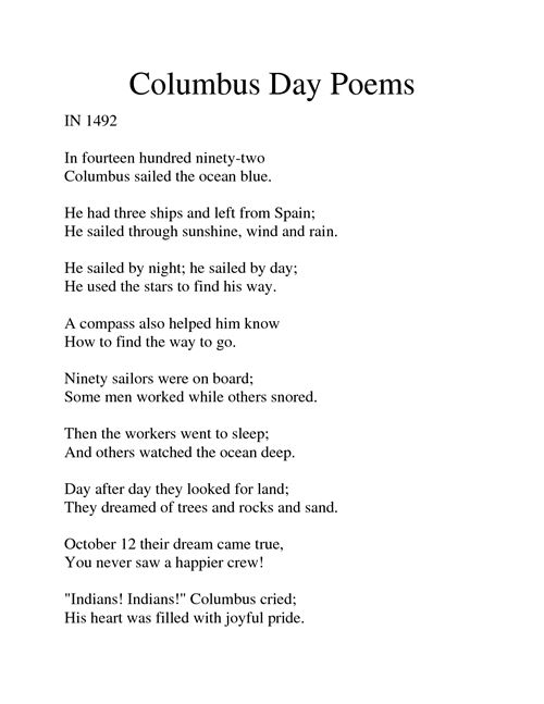 Famous Columbus Day Poem Sailed The Ocean Blue