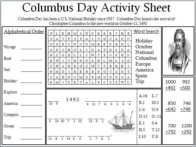 Unique Columbus Day Worksheets For Kids