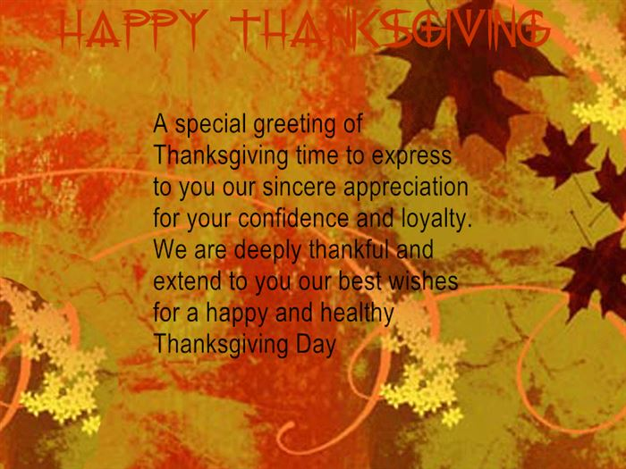 Best Happy Thanksgiving Greetings Card Messages For Business