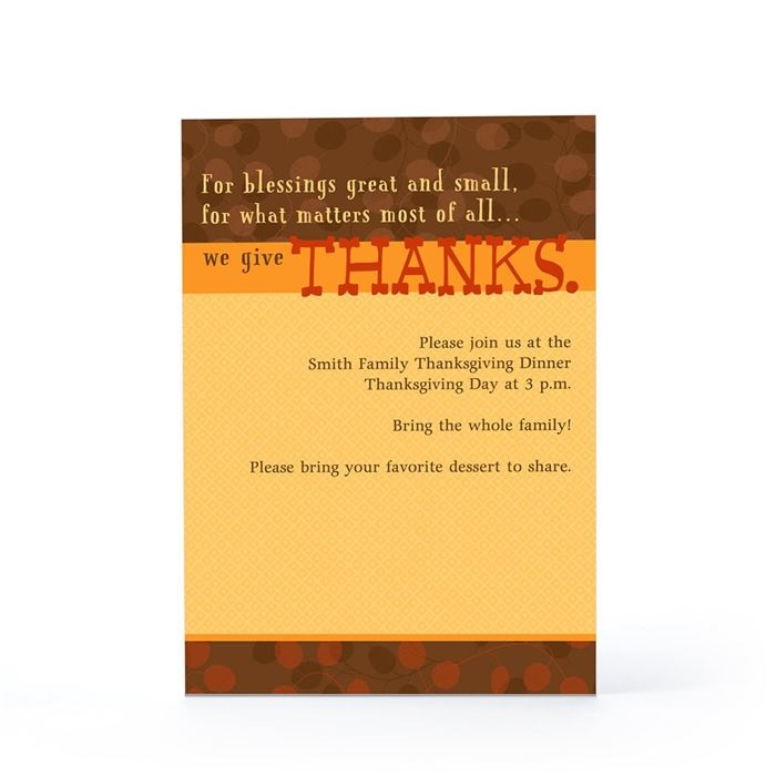 Happy Thanksgiving Party Invitation Message