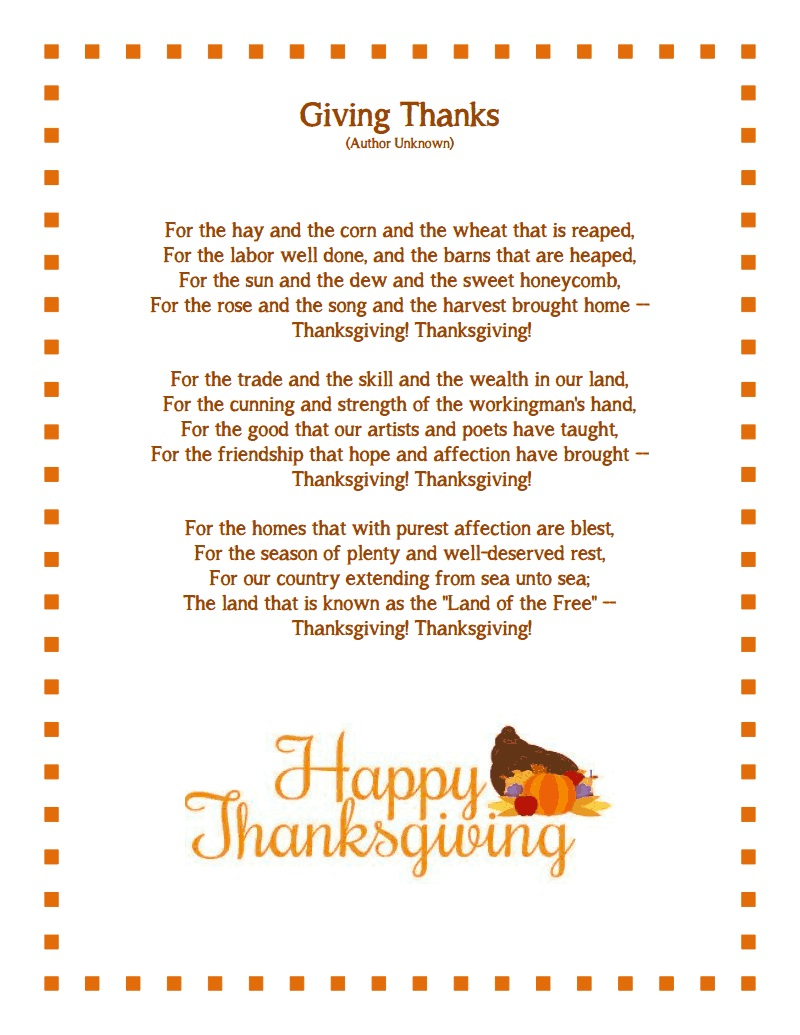 Best Free Happy Thanksgiving Poems For Preschoolers
