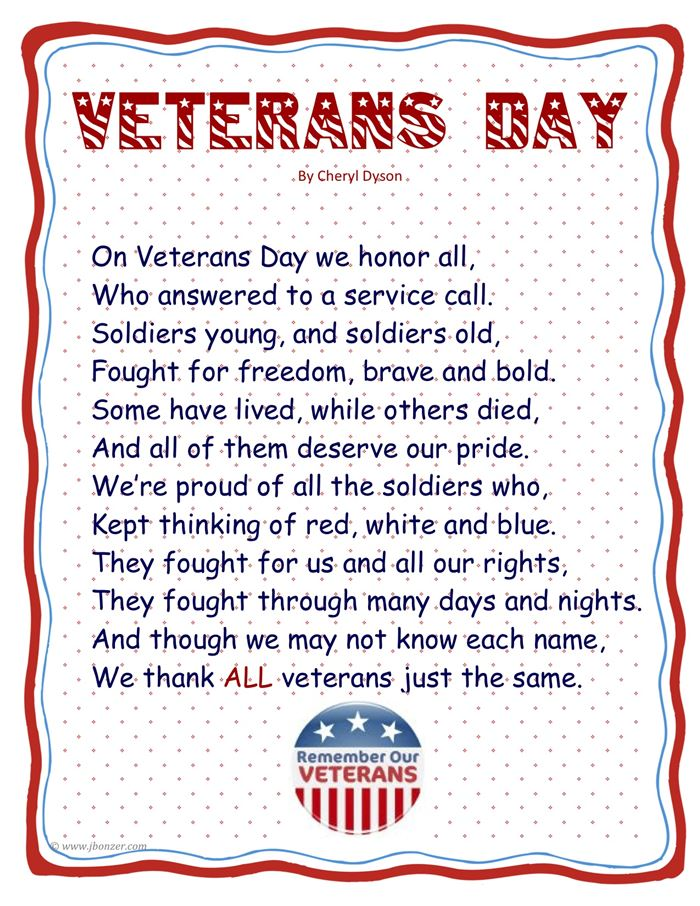 Meaningful Happy Veterans Day Thank You Poems