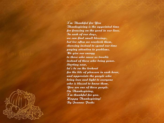 Meaningful Happy Thanksgiving Poems For Family Free