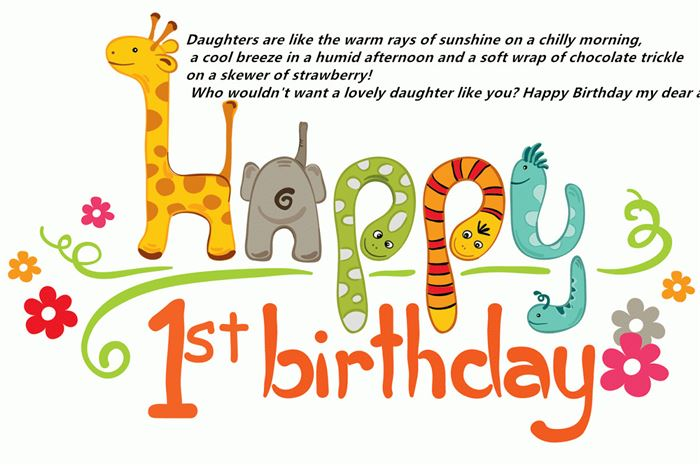 Short Happy 1st Birthday Messages For Daughter